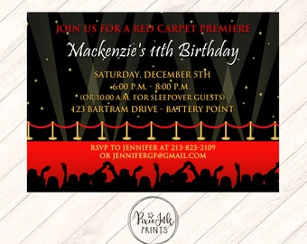 Red carpet invite etsy red carpet invitation flood lights party invite red carpet party invitation hollywood printable red carpet birthday party filmwisefo