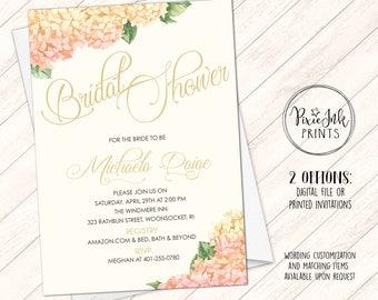 bridal shower invitation floral bridal shower invitation hydrangea bridal shower invite gold bridal shower invitation printable invite
