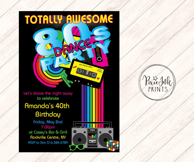 80's Dance Party Invitation, 80's Party Invitation, Glow Birthday  Invitation, Dance Party Invitation, Eighties Party Printable Invitation