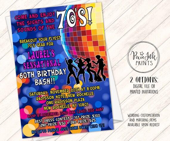 disco invitation 70 s party invite 70 s birthday etsy