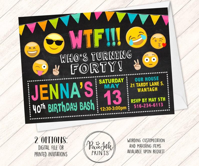 WTF Birthday Invitation Emoji