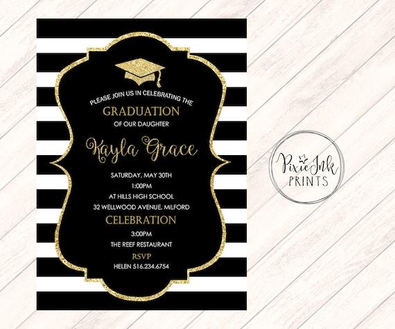 graduation party invitation black gold graduation etsy