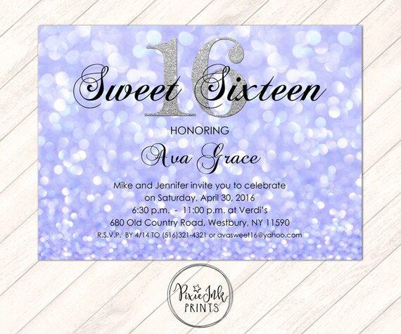 Purple Sparkle Sweet 16 Invitation Invite Glitter Birthday Printable
