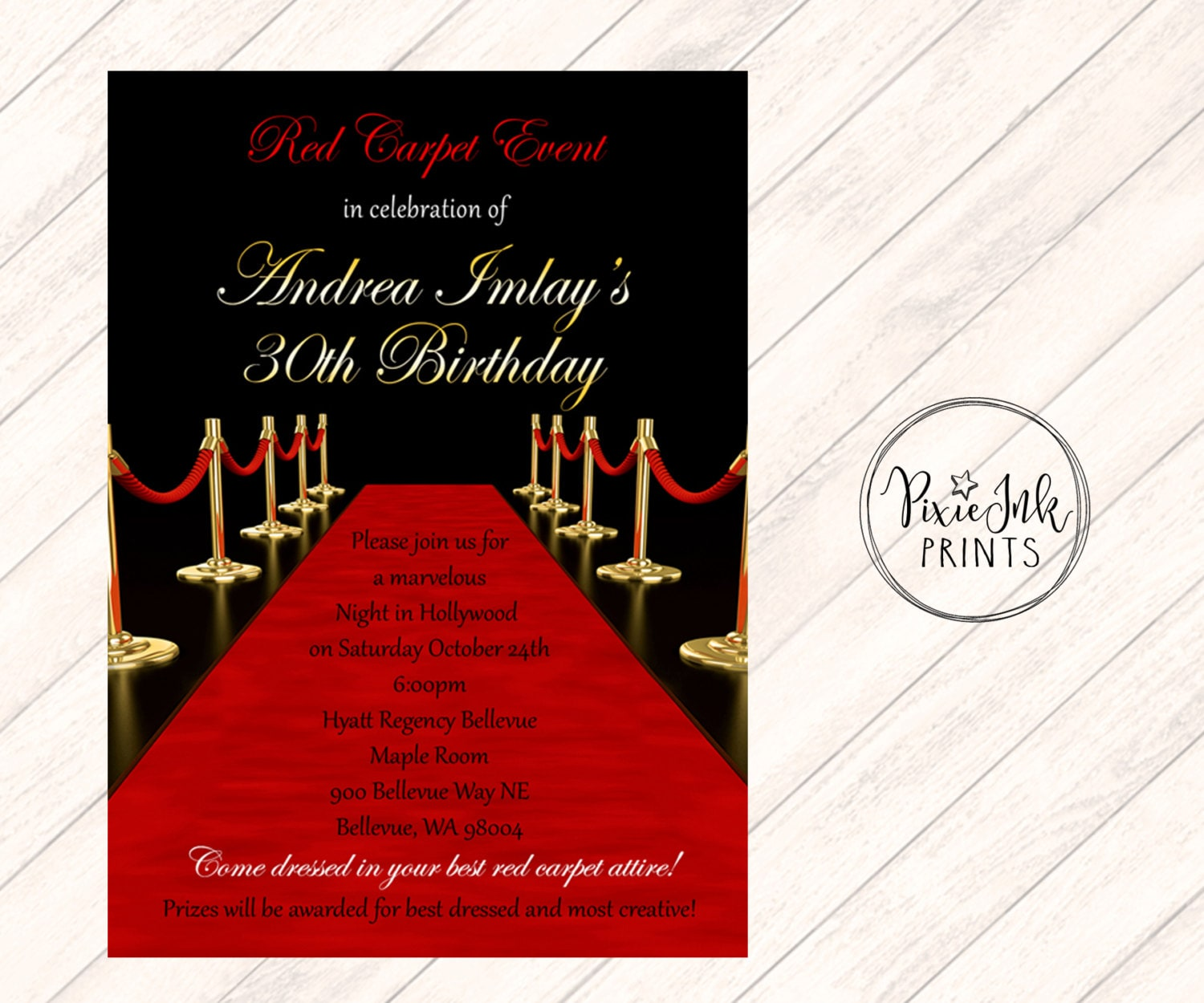 Red Carpet Affair Invitation Hollywood Sweet 16 Invite Red | Etsy