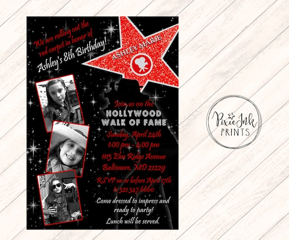 Hollywood Star Invitation Walk Of Fame Red Invite Carpet Party Printable Birthday