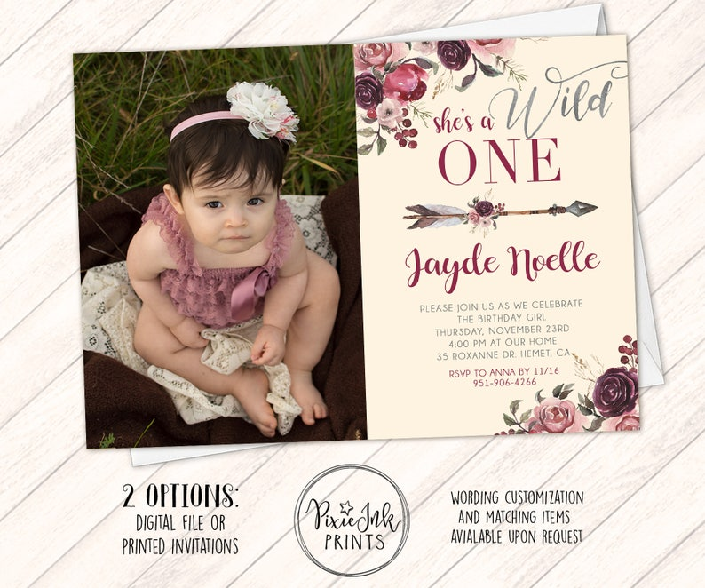 Wild One Birthday Invitation Girl Burgundy Floral 1st Etsy
