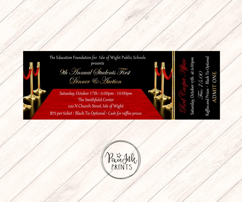 Red Carpet Ticket Invitation Hollywood Party Ticket VIP | Etsy
