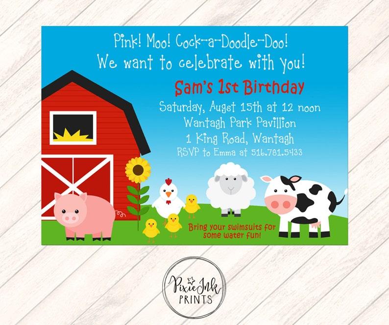Farm First Birthday Invitation Animals 1st