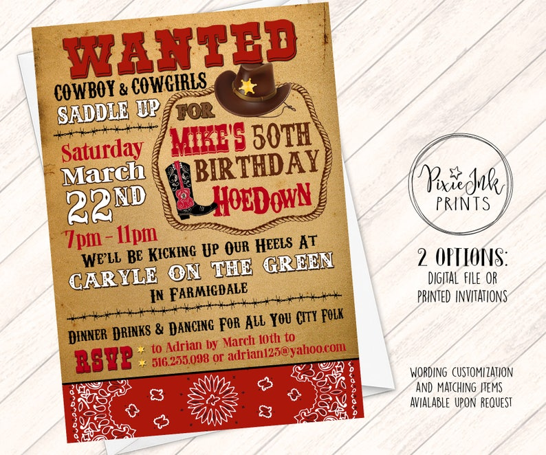 Wanted Cowboy Invitation Western Birthday Get Your Boots On Invite