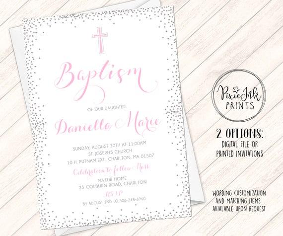 girls baptism invitation silver pink baptism invitation etsy