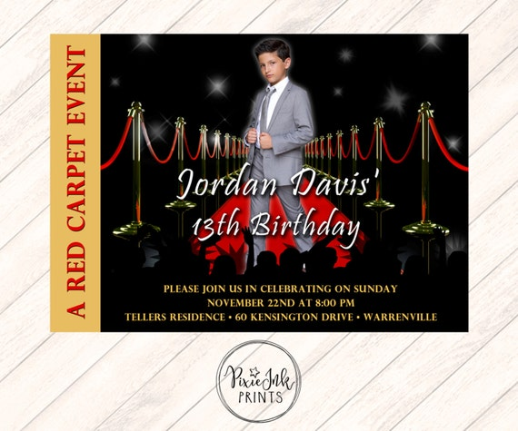 Red Carpet Invitation Hollywood Party Invite
