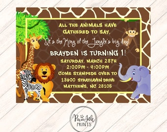 Safari First Birthday Invitation Girls 1st Birthday Party