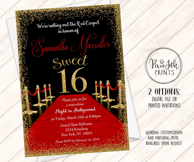Red Carpet Sweet 16 Invitations Hollywood Sweet 16 Invite Red Carpet Gala Invitations Red Carpet Printables Red Carpet Gold Confetti
