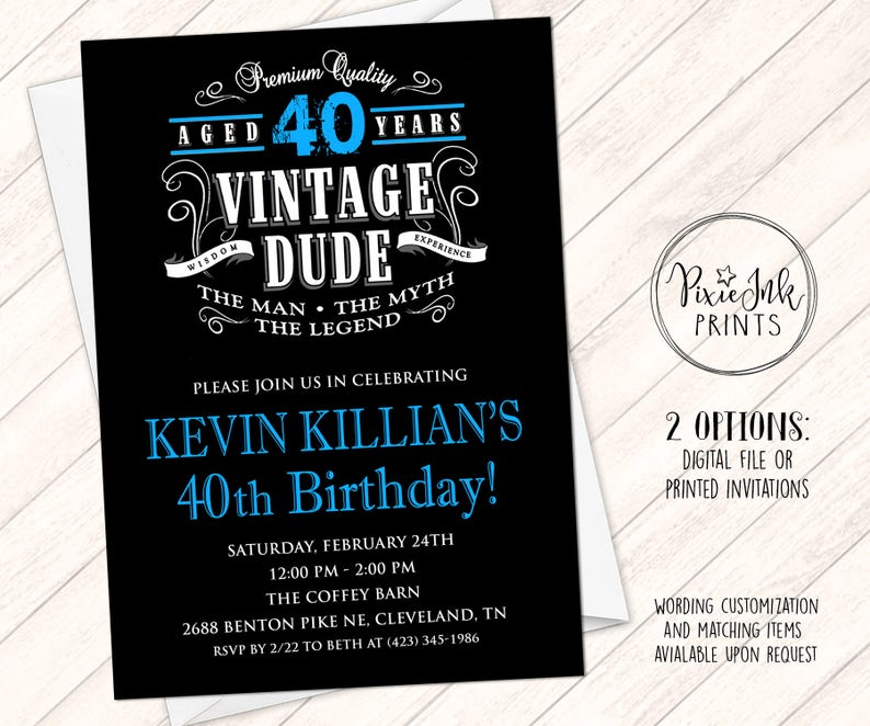 Vintage Dude Birthday Invitation Vintage Birthday Invitation