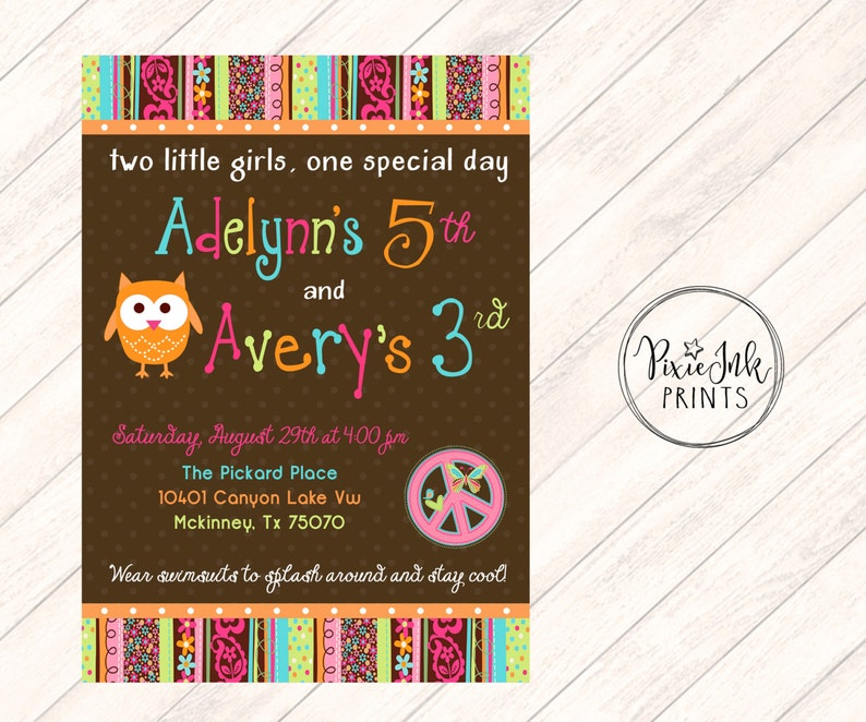 Peace Owl Birthday Invitation