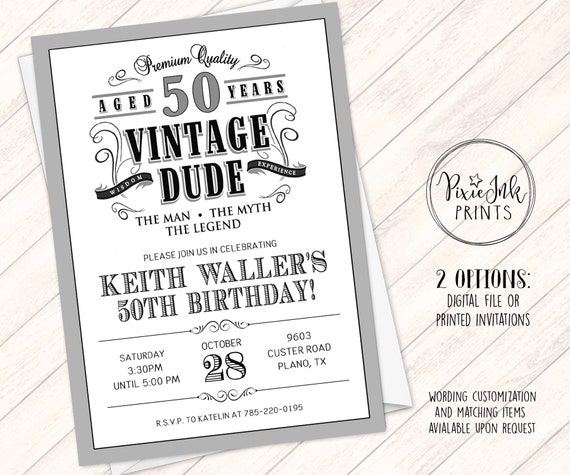Vintage Dude Birthday Invitation Through The Ages Invite Milestone Aged To Perfection