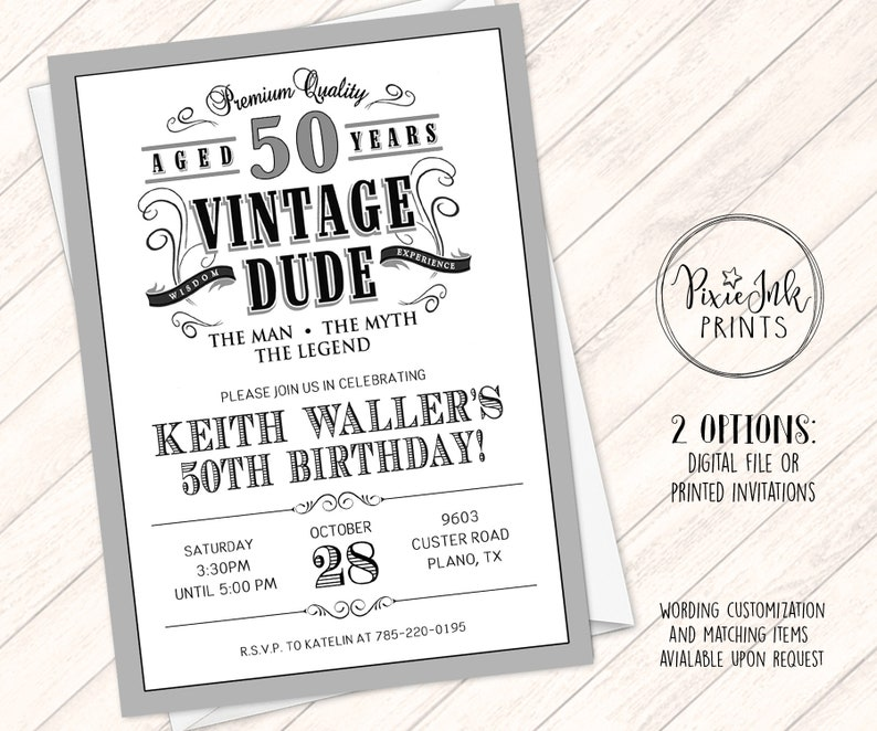 Vintage Dude Birthday Invitation Through The Ages Invite