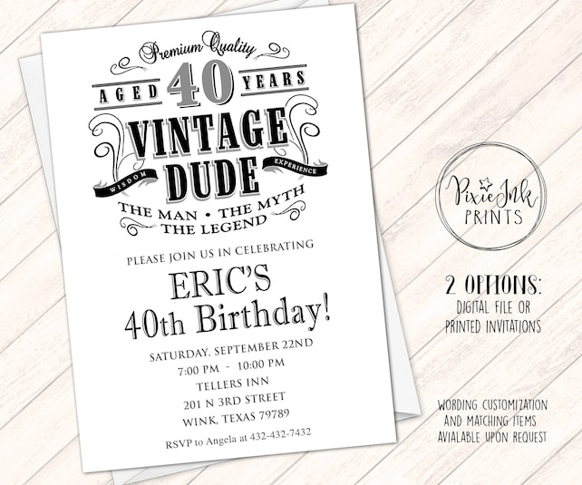Vintage Dude Birthday Invitation Milestone Aged To Perfection