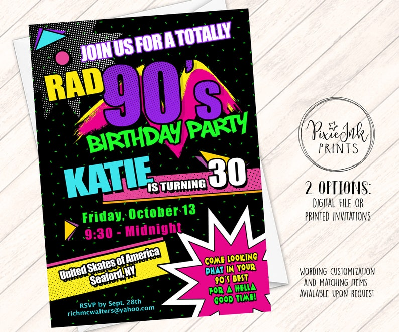 90s Party Invitation Birthday