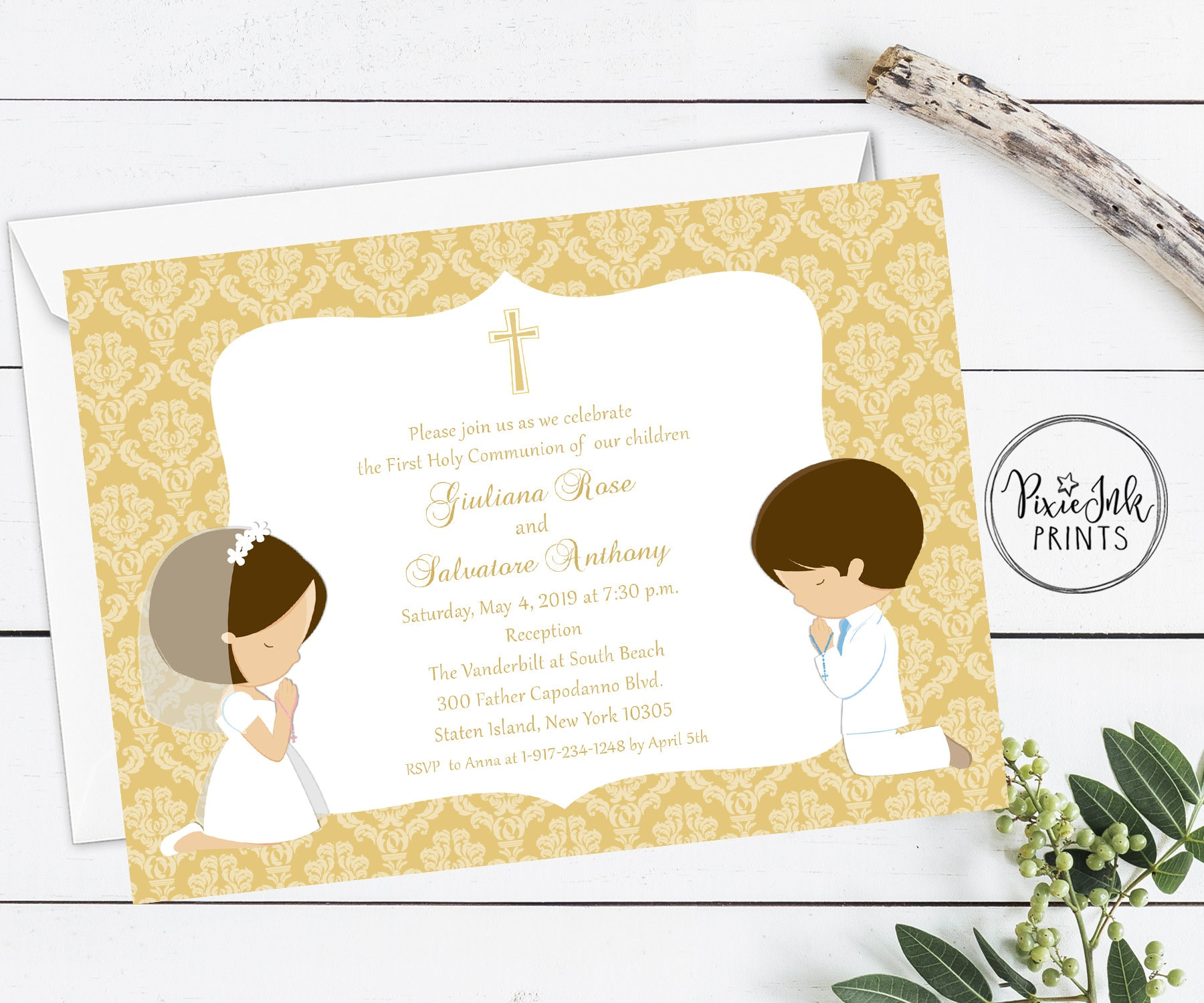 Joint Communion Invitation Split Gold Twin Sibling Printable