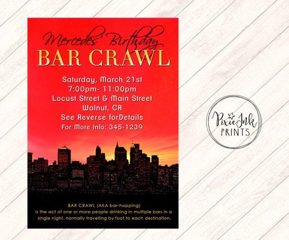 Birthday Bar Crawl Invitation Skyline Invitation Bar Crawl Etsy