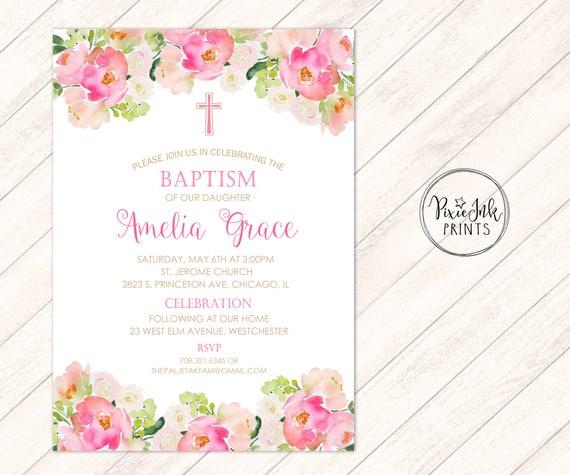baptism invitation girls christening invitation pink baptism etsy
