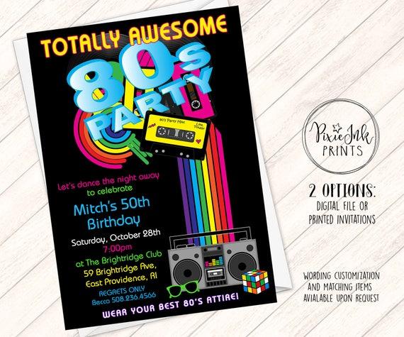 80 s birthday party invitation 80 s party invitation etsy