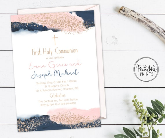 Twin Communion Invitation Split 1st Pink And Navy Blue Printable Baptism