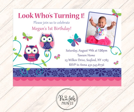 Owl First Birthday Invitation Owl 1st Birthday Invitation Etsy