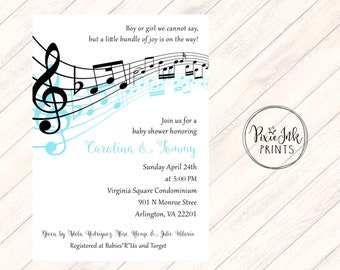 Music Notes Baby Shower Invitation, Musical Baby Shower Invitation, Music Notes Invitation, Music Theme Printable, Musical Birthday
