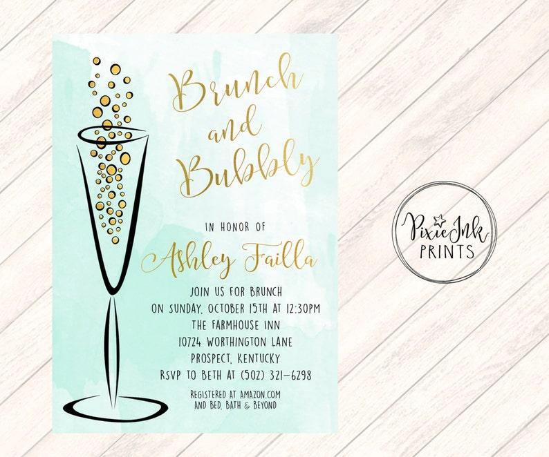 f6c2a2ad4179 Brunch   Bubbly Bridal Shower Invite Watercolor Invitation