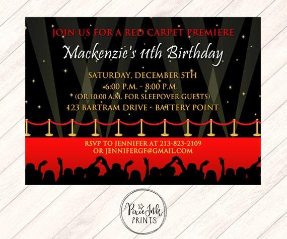 Red Carpet Invitation Flood Lights Party Invite