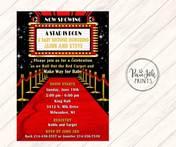 Red Carpet Baby Shower Invitation Hollywood Baby Shower Etsy
