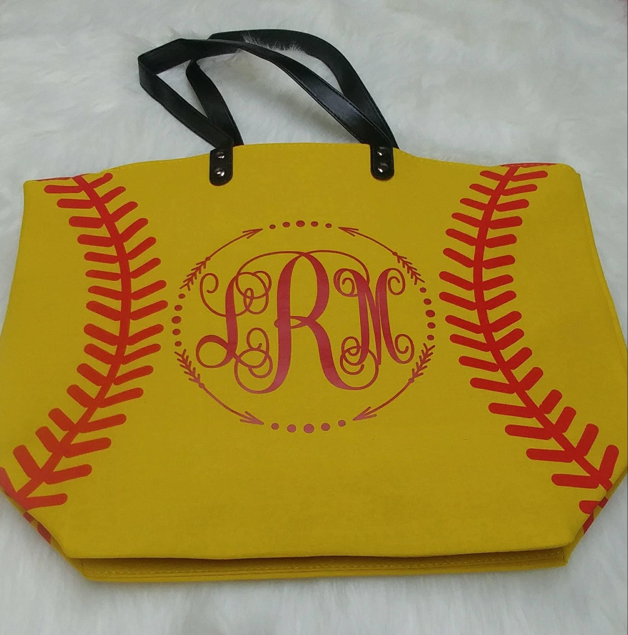 c0f3376ab8fc Softball bag/ Baseball Bag/ Purse/ Tote/ Yellow/ White/ Red/ Monogram/  Name/ Woman/ Girls/ Bag/ Baseball/ Softball/ personalized