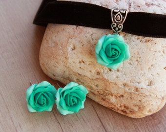 Mint roses jewelry set Choker with rose Green summer jewelry handmade Polymer clay gifts Cyan jewellery women Bijoux fimo clay Gift for her