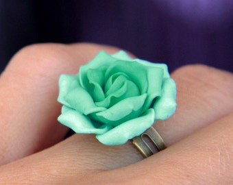 Flower ring Floral jewelry Mint Rose ring Floral jewelry Polymer clay ring 925 silver ring Sculpted flower ring Womens jewelry Gift for her