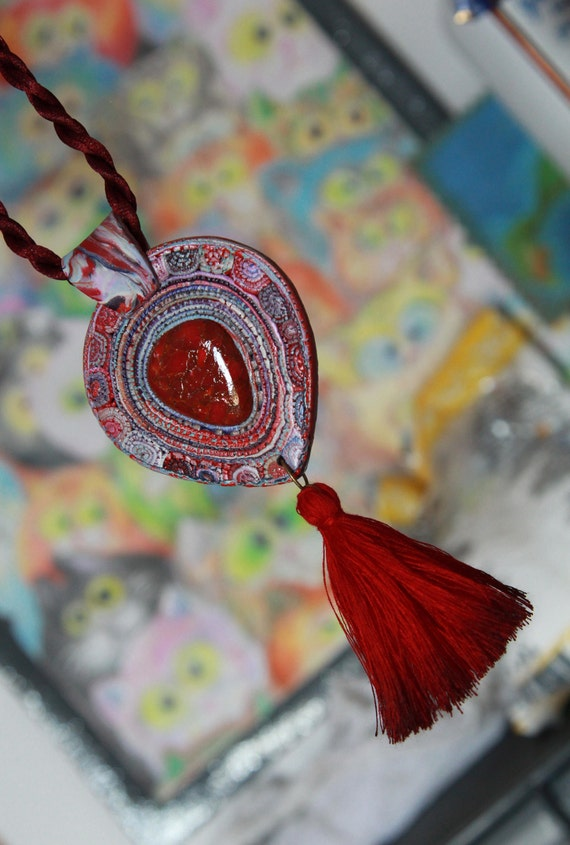 Stone pendant with cords Polymer clay jewelry Necklace pendant  Womens jewelry Mokume gane jewelry Red necklace Clay pendant Boho pendant