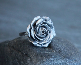 Silver rose ring Silver base ring Floral jewelry Polymer clay ring Handmade gift for women Silver jewelry Rose ring Flower jewelry