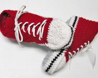 PATRON PDF #21 Converse au crochet pour homme, femme, adulte, explications français anglais, patron facile, chaussons, sneakers, espadrilles