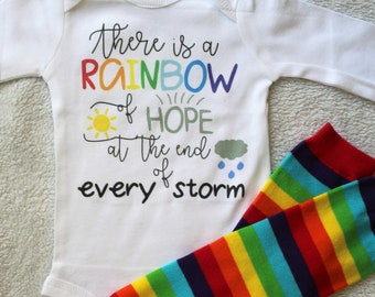 b779ce6856a There is a Rainbow of Hope at the end of every storm outfit Rainbow baby  bodysuit Rainbow baby outfit Rainbow leg warmers Rainbow of hope