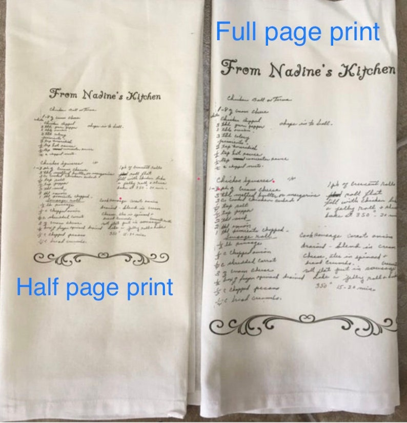 Personalized kitchen towel with your favorite family recipe on it Perfect gift for that special someone!