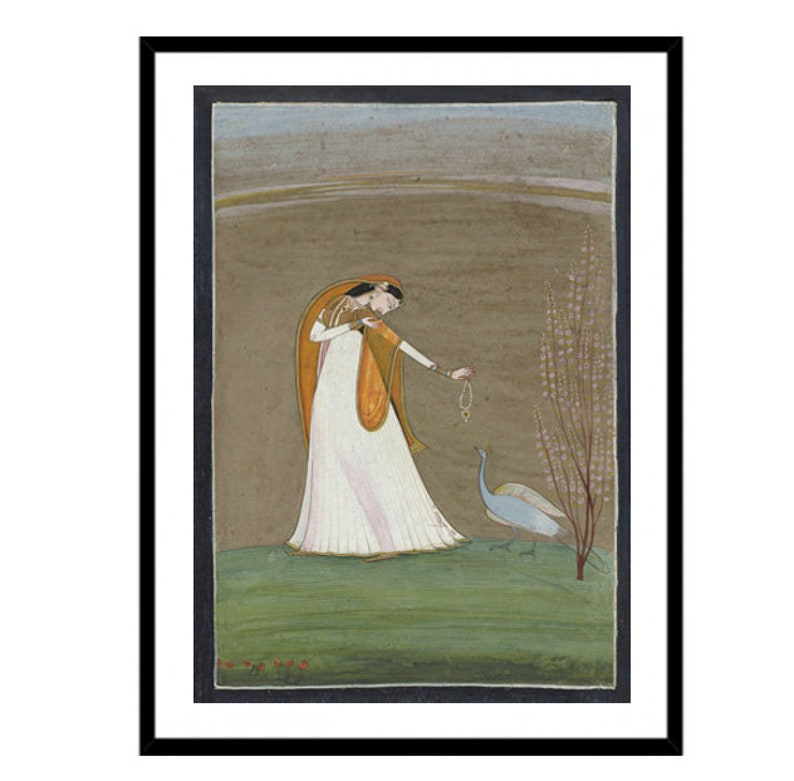 Woman with Peacock Painting Art Print, Antique Indian Artwork, Exotic Wall  Art, India, Birds, Fine Art Print