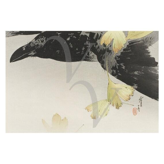 Japanese Raven Print Antique Artwork Black Crow Vintage Etsy
