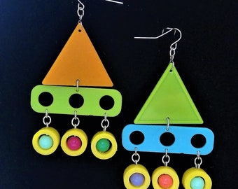 Sail Away colorful earring. up-cycled vintage earring, recycled jewelry, Shape of Lies