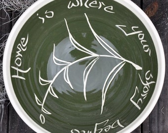 """Quote bowl, Fern Pattern, 12"""""""