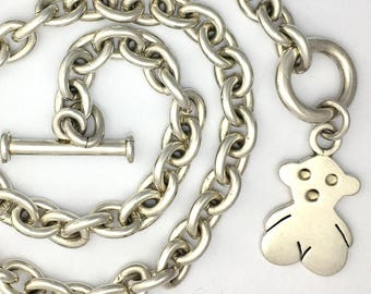 """Designer 16"""" Sterling Silver Heavy Chain Necklace with Toggle Clasp and Modern Teddy Bear Charm Pendant"""