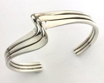 Vintage Sterling Silver Triple Wave Bangle Cuff