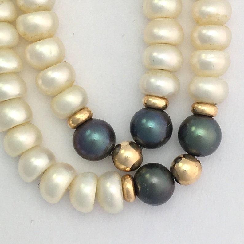 Button Pearl Necklace With Solid 9CT Gold Beads And Clasp