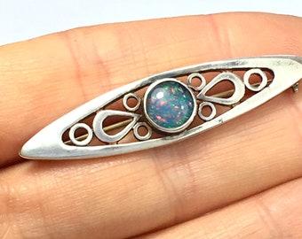 Vintage Scottish Sterling Silver Faux Opal Opalite Brooch