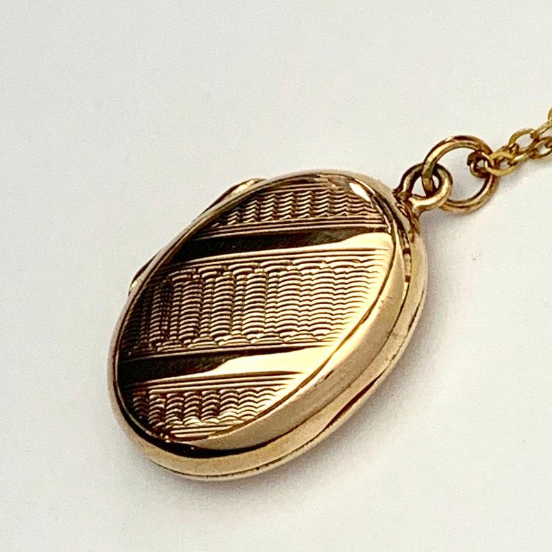 Antique Edwardian 9CT Rose Gold Oval Locket Pendant \u2022 Engine Turned \u2022 With Chain